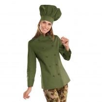 Veste de cuisine femme Isacco Lady Chef Vert Militaire manches longues