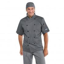 Veste de cuisine grise Isacco Cuoco manches courtes
