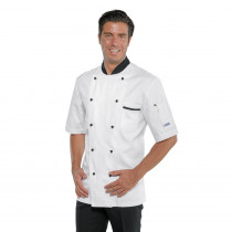 Veste de cuisine blanche motifs noirs Isacco Cuoco Royal Chef manch...