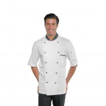 Veste de cuisine Isacco blanche Isacco Cuoco motifs Vienna noir man...