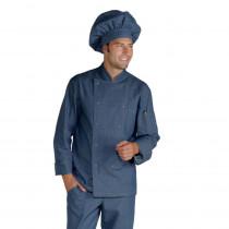 Veste de cuisine Jeans Isacco Cuoco manches longues boutons pression