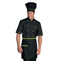 Veste de cuisine manches courtes noir motifs verts Isacco Cuoco Ext...