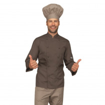 Veste de cuisine Marron Fanfo Isacco Cuoco manches longues