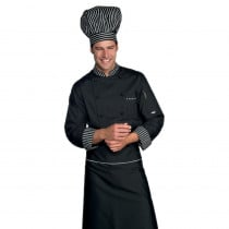 Veste de cuisine Noire rayures blanches Isacco Londra Chef manches ...