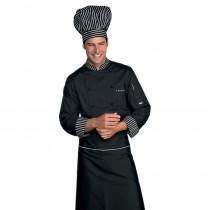 Veste de cuisine Noire rayures blanches Isacco Londra Chef manches ...
