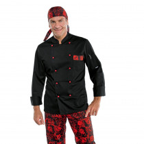 Veste de cuisine Isacco Skull Noir et rouge