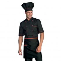 Veste de cuisine Isacco Alicante Extra Light noir et rouge manches ...