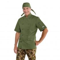 Veste de cuisine Vert Militaire Isacco Cuoco manches courtes