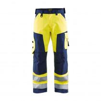 Pantalon de travail haute visibilité genoux cordura Blaklader Jaune / Marine avant