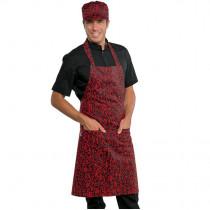 Tablier de cuisine japonais à bavette Isacco Pettorina Sushi noir et rouge