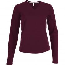 Tee-shirt de travail col V manches longues Kariban femme 100% coton Bordeaux