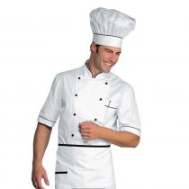 Veste de cuisine blanche et noir manches 1/2 Isacco