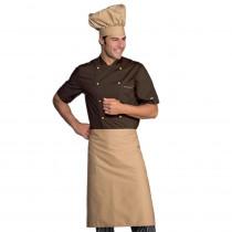 Veste de cuisine marron contrastée Isacco manches courtes Alicante ...