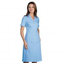 Blouse de travail femme bleu ciel Isacco Camice Donna Manches courtes
