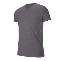 T-shirt de travail col V manches courtes Kariban mélange Gris foncé