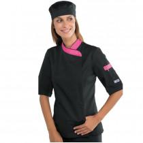 Veste de Cuisine Femme Isacco manches courtes Noir Rose Fuchsia