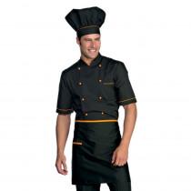 Veste de cuisine noir motif orange Cuoco Isacco manches courtes Ext...