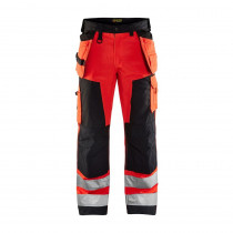 Pantalon de travail haute visibilité Blaklader Artisan classe 2 Rouge / Noir avant