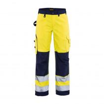 Pantalon de travail haute visibilité femme Blaklader renfort codura Jaune / marine avant