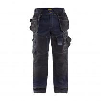 Pantalon de travail X1500 cordura denim tissu 1140 Blaklader Marine / noir avant