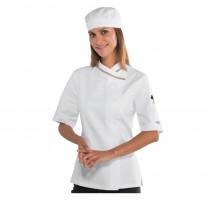 """Veste de cuisine femme Isacco """"col italien"""" manches courtes"""