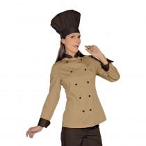 Veste de cuisine femme Isacco Lady Royal Marron col contrasté