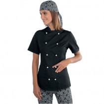 Veste de cuisine femme ultra légère Isacco Lady Extra Light Noire Boutons Blancs