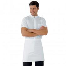 Tablier de cuisine blanc sans poches Isacco 100% coton 70 x 46cm