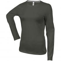 Tee-shirt de travail col rond manches longues Kariban femme 100% coton Kaki foncé