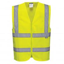 Gilet Haute-Visibilité avec zip Portwest Vest-Port jaune face