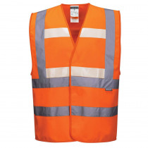 Gilet sans manche haute visibilité triple technologies Portwest Glowtex Orange face