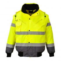 Blouson haute visibilité bicolore 3 en 1 manches amovibles Portwest jaune gris