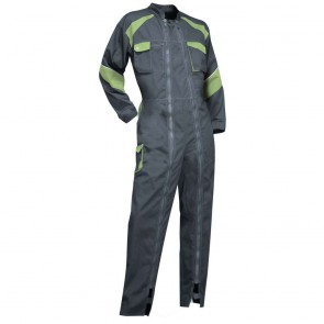 Combinaison de travail Rapido Bicolore 2 zips Femme ORGE LMA gris/vert 1