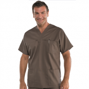 Blouse médicale unisexe Isacco manches courtes Marron