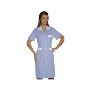 Tunique médicale femme Isacco manches courtes Bleu/Blanc