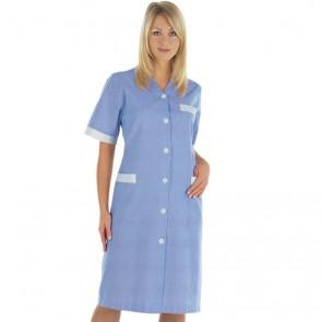 Blouse bleu laboratoire femme col V Isacco Michelle 100% coton manches courtes