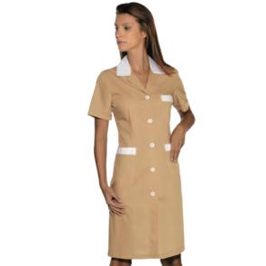 Tunique médicale femme Isacco Beige/Blanc manches courtes