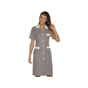 Tunique médicale femme Isacco manches courtes Marron/Blanc