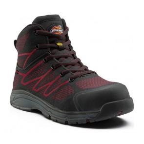 Chaussure de sécurité montante Dickies Liberty S1P SRC ESD Noir/rouge