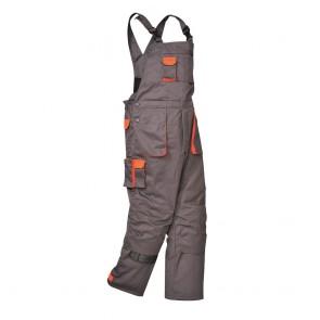 Cotte à bretelles Matelassée Portwest Contrast Texo gris poches oranges
