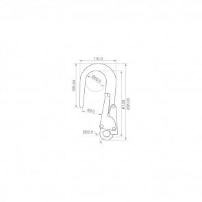 Crochet de sécurité en aluminium Toplock 71161