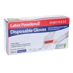 Gants à usage unique Latex Poudrés Portwest (lot de 100)