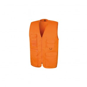 Gilet sans manches reporter multi-poches polycoton Result orange