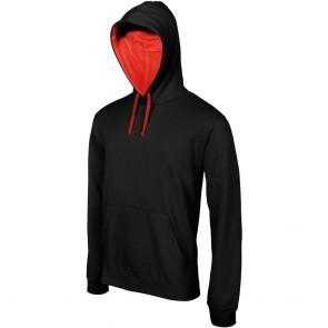 Sweat-shirt à capuche contrastée homme Kariban Noir rouge