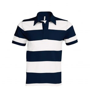 Polo rugby rayé manches courtes Kariban 100% coton