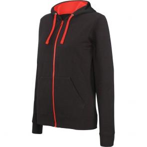 Sweat-shirt zippé capuche contrastée Kariban femme