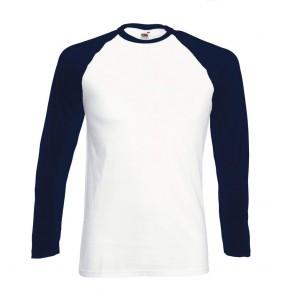 Tee-shirt baseball manches longues Fruit Of The Loom blanc marine
