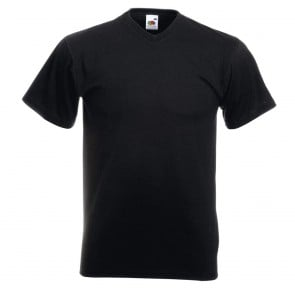 Tee-shirt col V Fruit Of The Loom Valueweight noir
