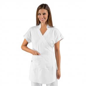 """Tunique """"Kimono"""" blanche médical femme Isacco Tahiti"""