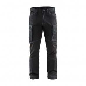 Pantalon de travail services denim stretch Blaklader cordura denim 320g Noir avant